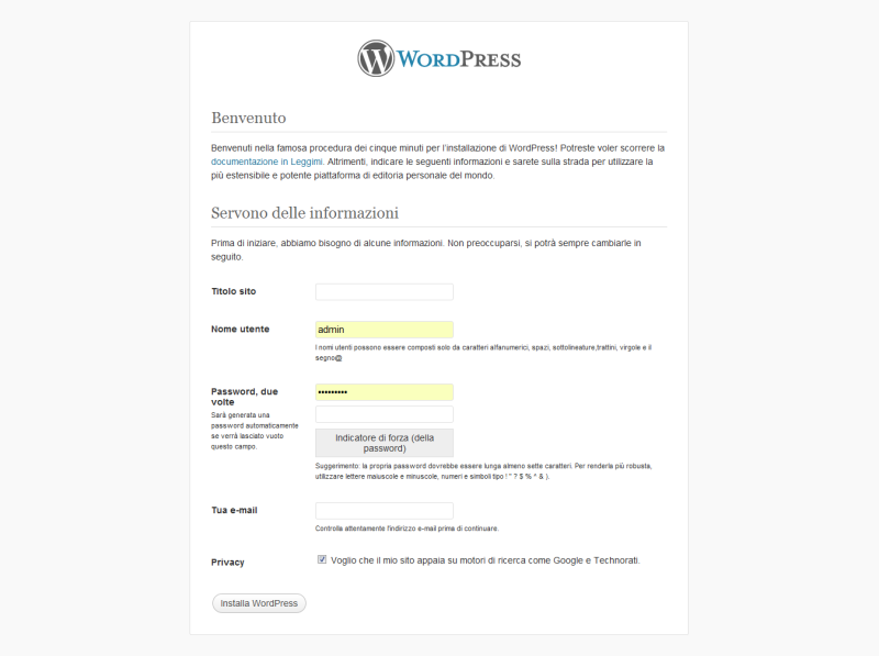pagina installazione wordpress
