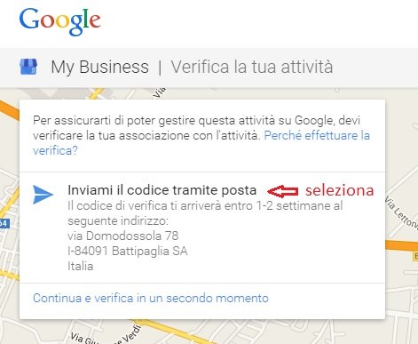 verifica google my business tramite posta