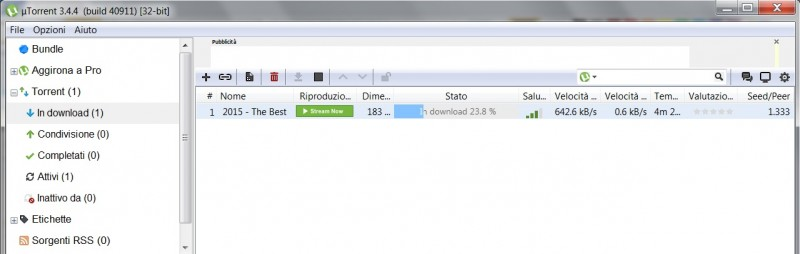 download in corso file torrent