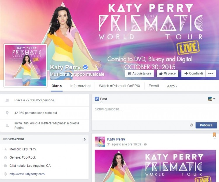 pagina facebook Katy Perry