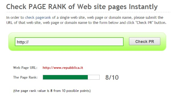 prchecker test pagerank sito