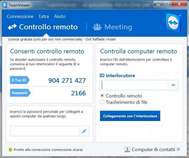 proprio ID e password Team Viewer uso privato