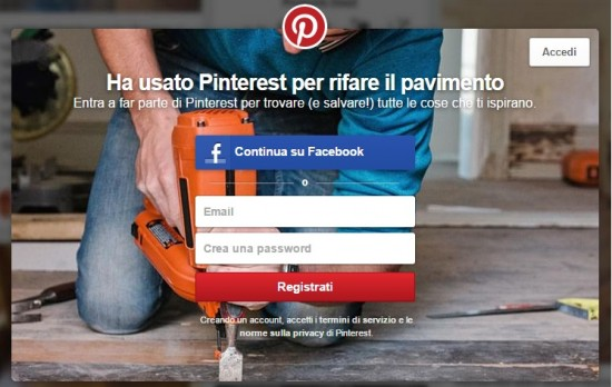 registrarsi su pinterest